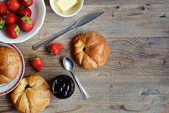 Croissants for breakfast royalty free stock images