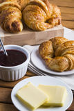 Croissants butter and jam Royalty Free Stock Photo