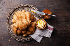Croissants with butter and jam Royalty Free Stock Photography
