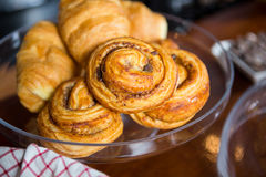 Croissants on cake stand Royalty Free Stock Images