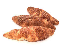 Croissants with cheese. Isolated on white background Royalty Free Stock Photography