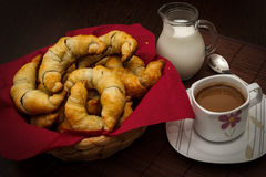 Croissants with chocolate. A buttery flaky viennoiserie pastry with chocolate royalty free stock photos