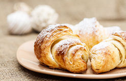 Croissants. Close up of three croissants on plate Royalty Free Stock Image