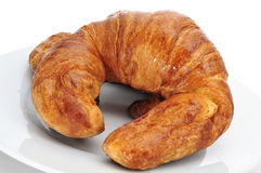 Croissants. Closeup of some croissants on a plate stock photography