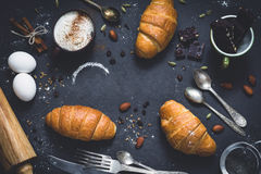 Croissants, coffee and chocolate Royalty Free Stock Image