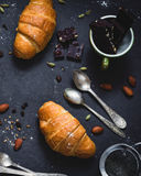 Croissants, coffee and chocolate Royalty Free Stock Images