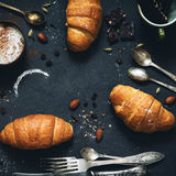 Croissants, coffee and chocolate Stock Image