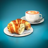 Croissants and coffee cup Stock Images