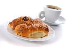 Croissants and coffee cup isolated on white Royalty Free Stock Photo