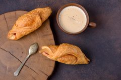 Croissants and coffee on table, top view Stock Photography