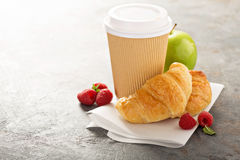 Croissants with coffee to go Stock Photo