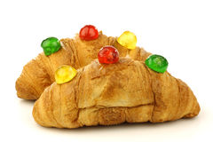 Croissants with colorful conserved fruits Stock Image