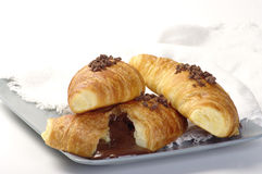 Croissants com chocolate Fotografia de Stock Royalty Free