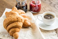 Croissants with cup of coffee Royalty Free Stock Photo