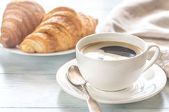Croissants with cup of coffee Stock Photo