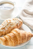Croissants with cup of coffee Royalty Free Stock Photos