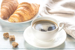 Croissants with cup of coffee Stock Image