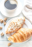 Croissants with cup of coffee Royalty Free Stock Photography
