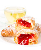 Croissants and cup of tea Stock Image