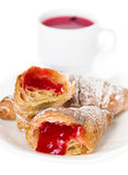 Croissants and cup of tea Royalty Free Stock Photos