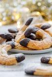 Croissants d'amande avec du chocolat image libre de droits