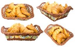 Croissants de groupe dans un panier. Collage Photos stock