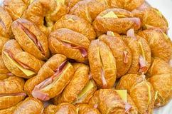 Croissants del jamón y del queso Foto de archivo