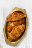 Croissants in dish on white background Royalty Free Stock Photos