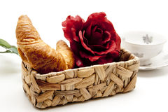 Croissants and floral decoration Stock Image