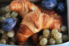 Croissants with fruit in a box Royalty Free Stock Images