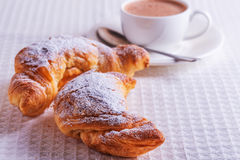 Croissants with hot chocolate Royalty Free Stock Photo