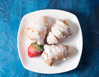 Croissants with icing sugar Royalty Free Stock Photo