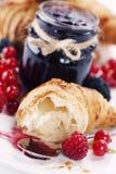 Croissants with jam stock photos