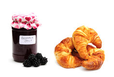 Croissants and jam. Shot of some delicious croissants and jam Stock Images