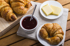 Free Croissants Jam And Butter Stock Image - 62056891