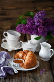 Croissants and jam for breakfast Royalty Free Stock Photography