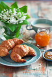 Croissants and jam for breakfast Royalty Free Stock Image