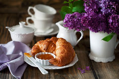 Croissants and jam for breakfast Stock Images