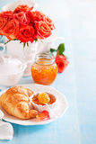 Croissants and jam Royalty Free Stock Photography