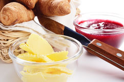 Croissants, jam and butter Royalty Free Stock Photos