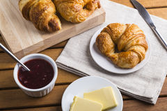 Croissants with jam and butter Stock Image