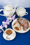 Croissants with jam and coffee Stock Photos