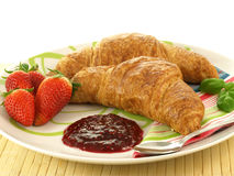 Croissants with jam, isolated Stock Photography