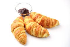 Croissants with jam, isolated Royalty Free Stock Images