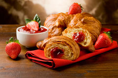 Croissants with marmelade Stock Photo