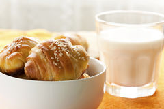croissants and milk for breakfast stock photos