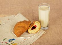 Croissants and milk glass Stock Photography