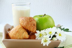 Croissants, milk and a green apple Stock Photography