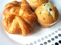 Croissants and muffins Royalty Free Stock Images