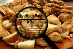 Croissants and nutrition fact Royalty Free Stock Image